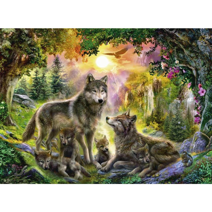 Wolvenfamilie in het zonlicht - puzzel van 500 stukjes-2