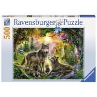 thumb-Wolvenfamilie in het zonlicht - puzzel van 500 stukjes-1