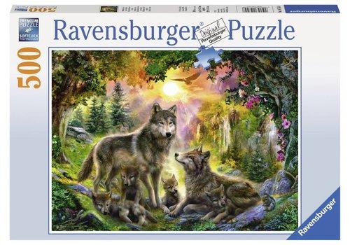 Ravensburger Famille de loups a l'aurore - 500 pièces