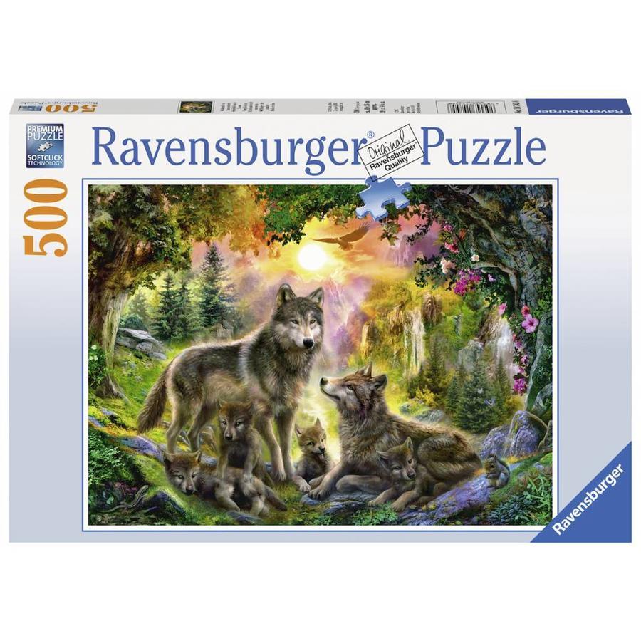 Wolvenfamilie in het zonlicht - puzzel van 500 stukjes-1