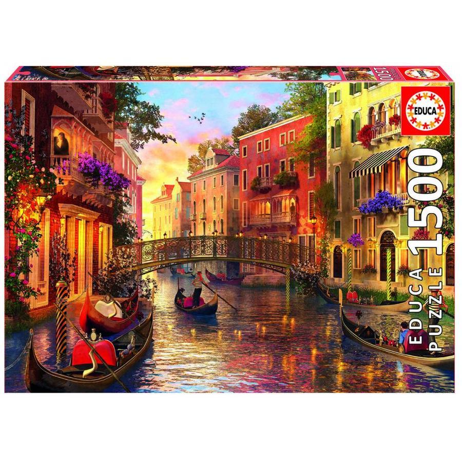Zonsondergang in Venetië - puzzel van 1500 stukjes-1