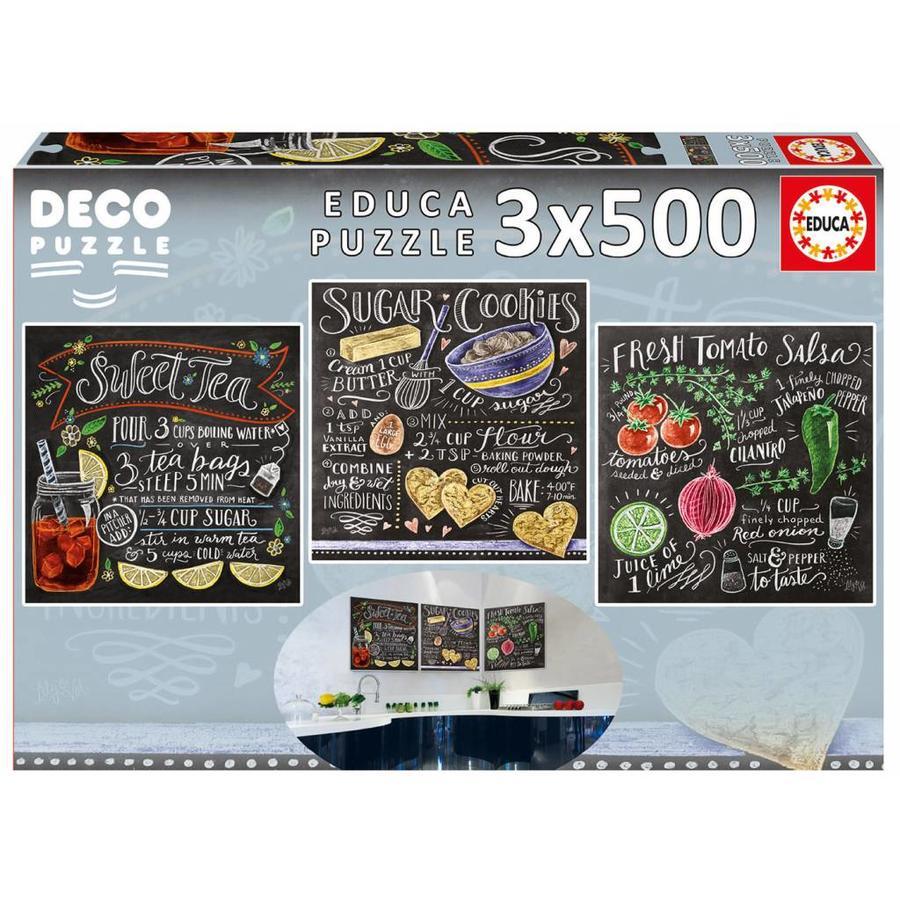 Recepten - Deco - 3 puzzels van 500 stukjes-2