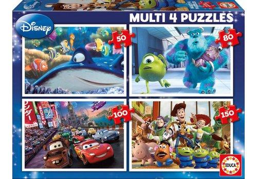 Educa Pixar - 4 pièces puzzles 50/80/100/150