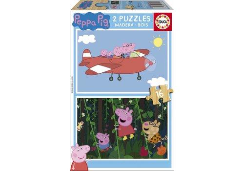 Educa HOUT: Peppa Pig - 2 x 16 stukjes