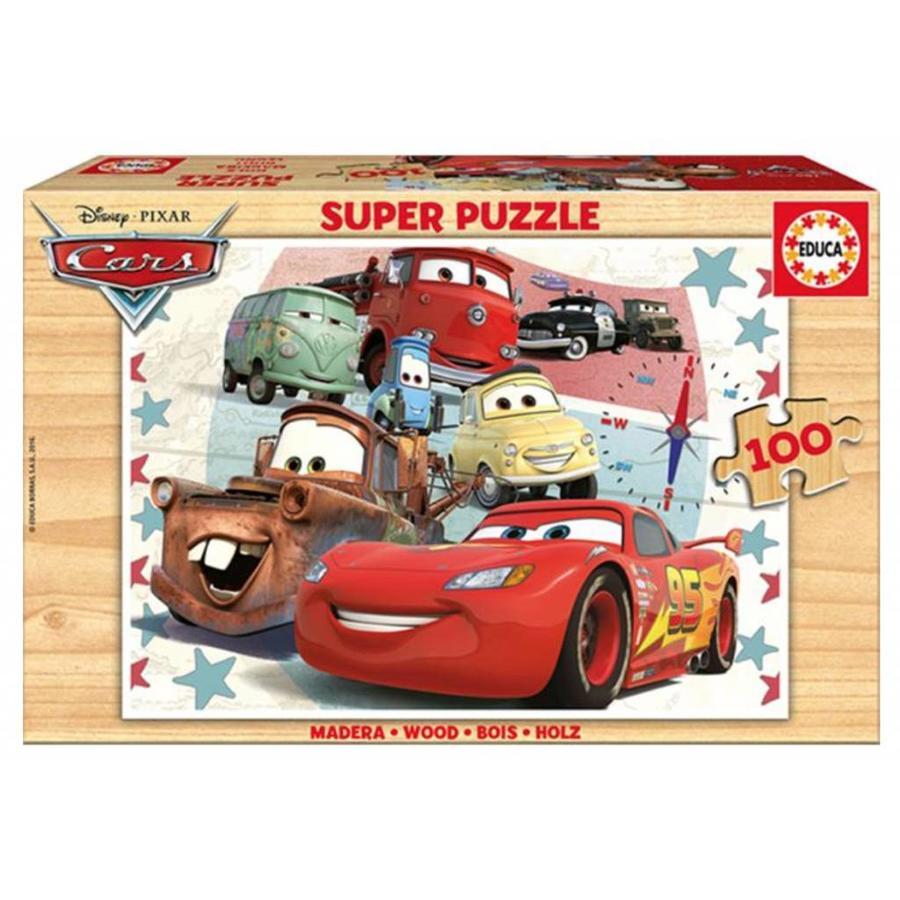 HOUT: Cars - houten puzzel van 100 stukjes-1