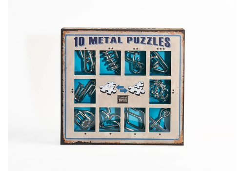 10 Metal brain teasers - blue set
