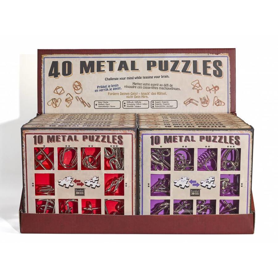 10 Metal brain teasers - red set-2