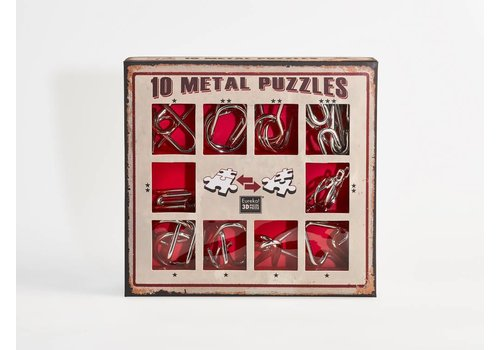 10 Metal brain teasers - red set