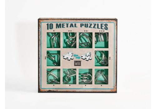 10 Metal brain teasers - green set