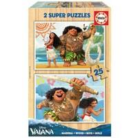 HOUT: Disney Vaiana - 2 houten puzzels x 25 stukjes