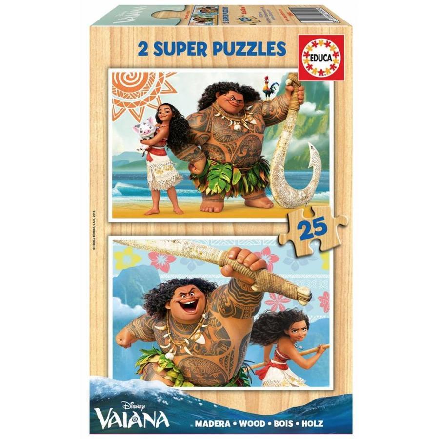 HOUT: Disney Vaiana - 2 houten puzzels x 25 stukjes-1