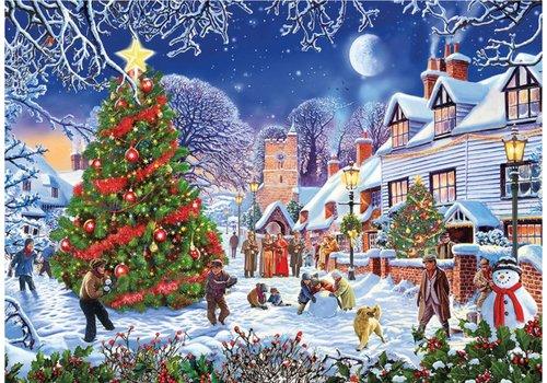 De kerstboom van het dorp - 1000 stukjes
