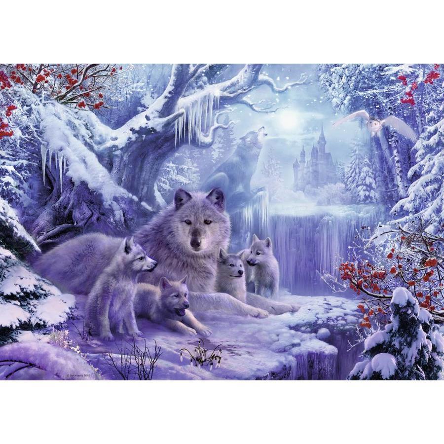 Wolven in de winter - legpuzzel van 1000 stukjes-1
