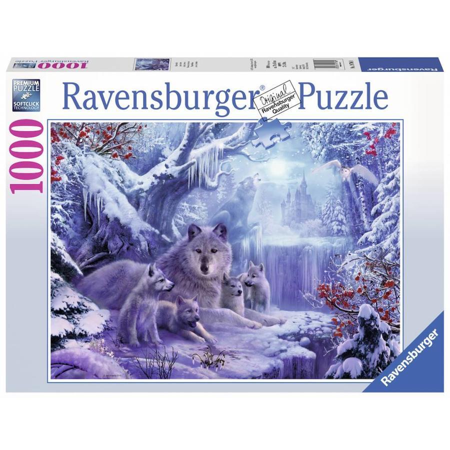 Wolven in de winter - legpuzzel van 1000 stukjes-2