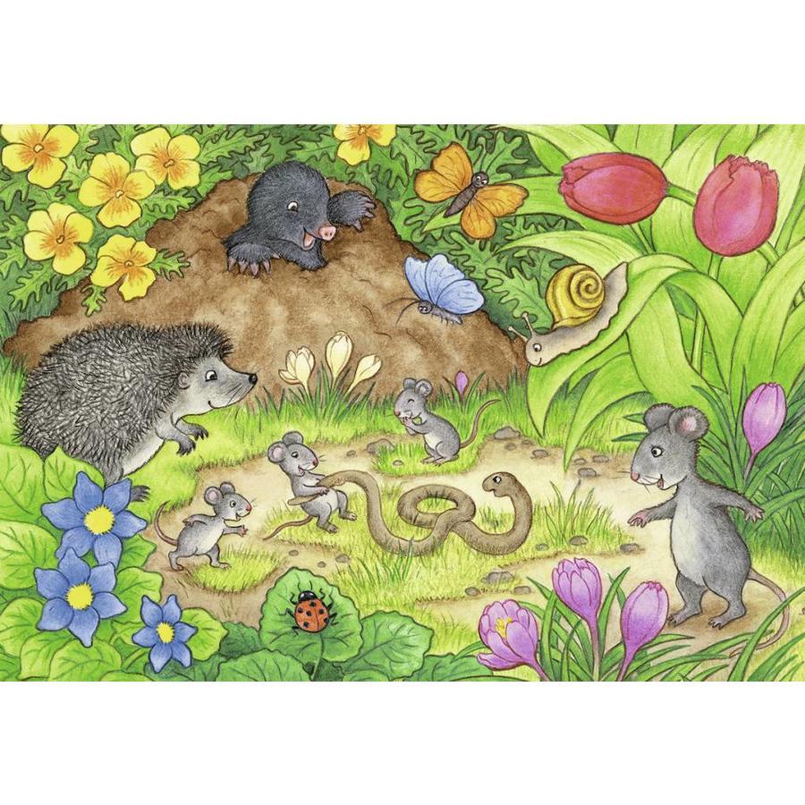 Dieren in onze tuin - 2 puzzels van 12 stukjes-2