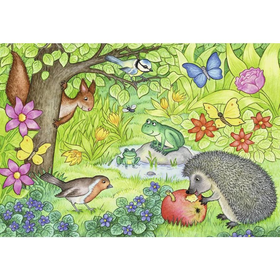 Dieren in onze tuin - 2 puzzels van 12 stukjes-3