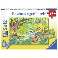 thumb-Dieren in onze tuin - 2 puzzels van 12 stukjes-1