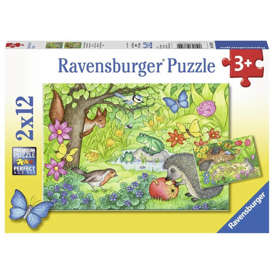 Dieren in onze tuin - 2 puzzels van 12 stukjes-1