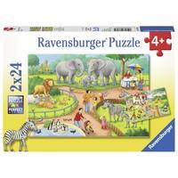 thumb-Une journée au zoo - 2 puzzles de 24 pièces-1