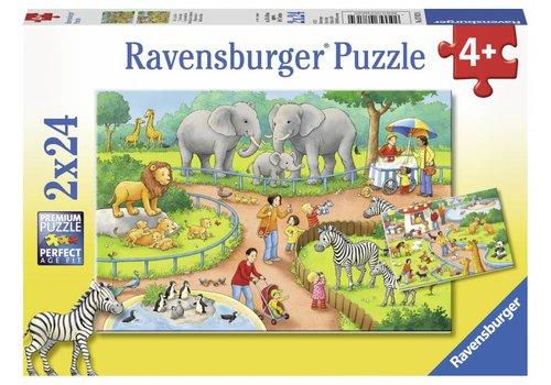 Ravensburger Een dag in de dierentuin - 2 x 24 stukjes