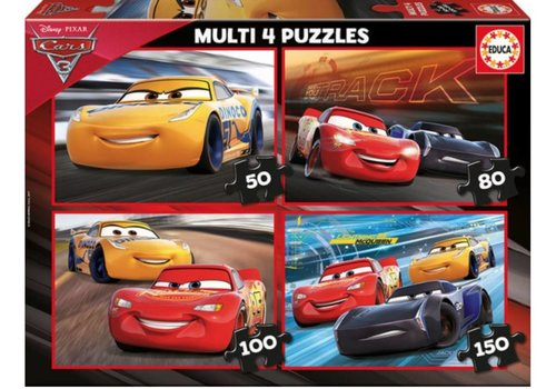 Cars - 4 puzzles of 50/80/100/150 pieces