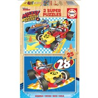 HOUT: Mickey and the Roadster Racers - 2 puzzels x 25 stukjes