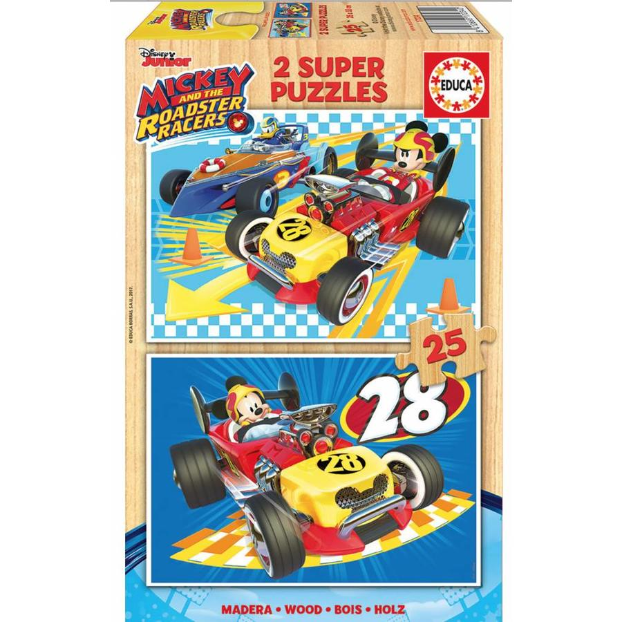 HOUT: Mickey and the Roadster Racers - 2 puzzels x 25 stukjes-1