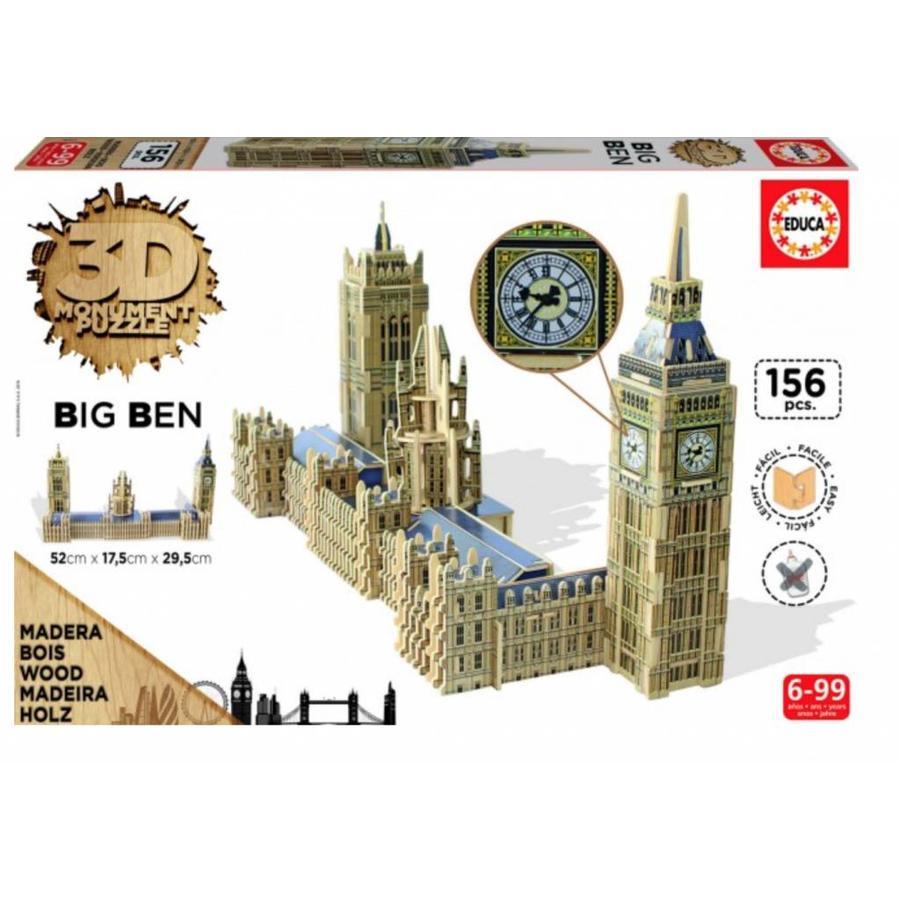 HOUT: Big Ben - 3D monument puzzel - 156 stukjes-1