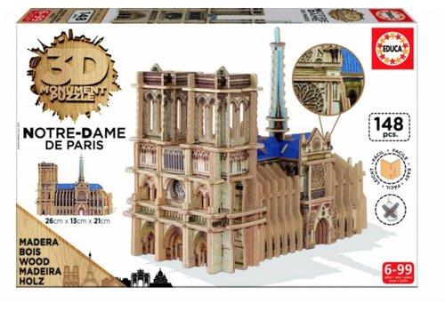HOUT: Notre-Dame - 3D puzzel - 148 stukjes