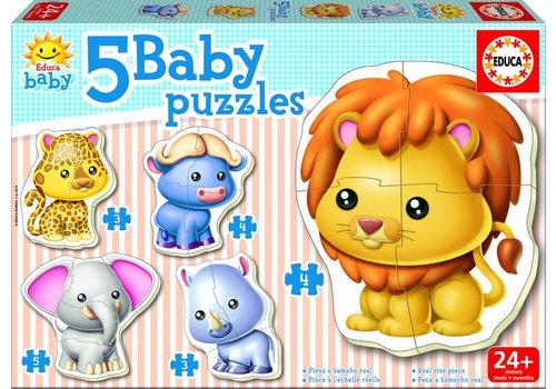 Educa 5 puzzles d'animaux sauvages - 3, 4 et 5 pièces