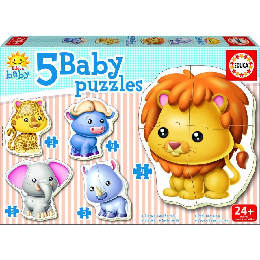 5 puzzels met diertjes uit de Savanne - puzzels van 3, 4 en 5 stukjes-1