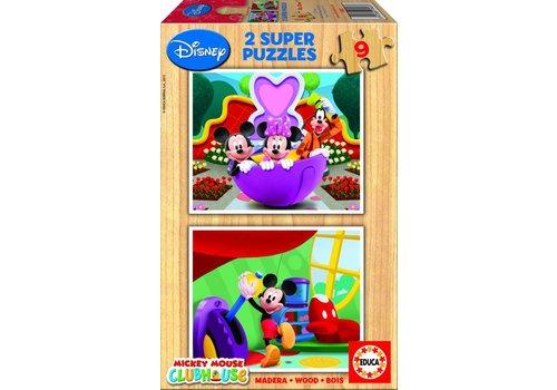 HOUT: Mickey - 2 x 9 stukjes