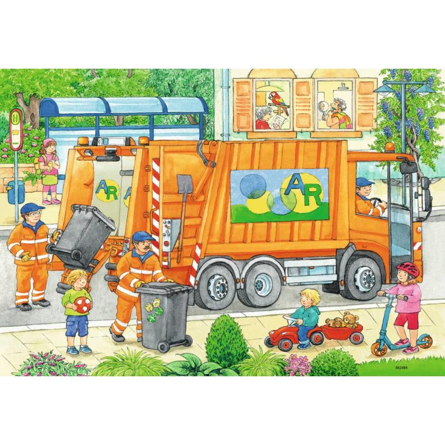 Onderweg met de vuilniswagen - 2 puzzels van 12 stukjes-2