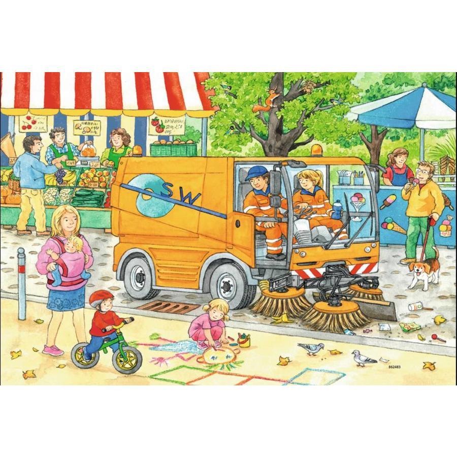 Onderweg met de vuilniswagen - 2 puzzels van 12 stukjes-3