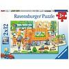 Ravensburger Onderweg met de vuilniswagen - 2 puzzels van 12 stukjes