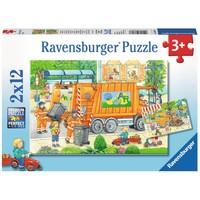 thumb-Onderweg met de vuilniswagen - 2 puzzels van 12 stukjes-1