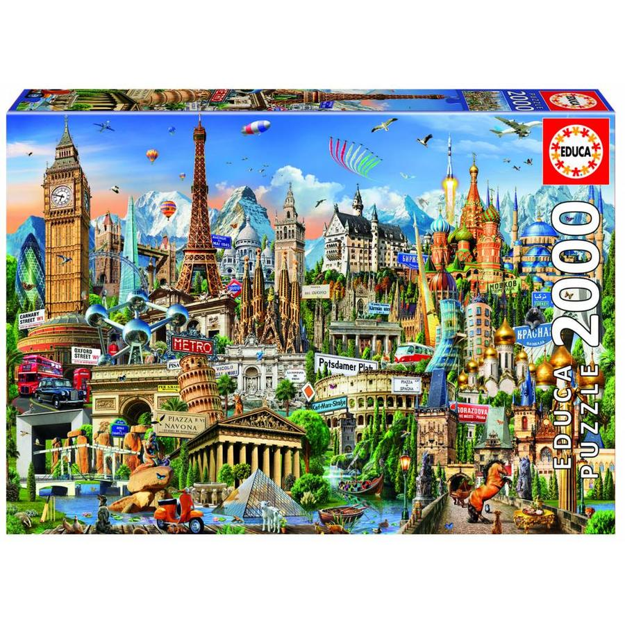 Europe Landmarks - jigsaw puzzle of 2000 pieces-1
