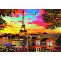thumb-Coucher de soleil à Paris - puzzle de 3000 pièces-2
