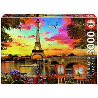 thumb-Coucher de soleil à Paris - puzzle de 3000 pièces-1