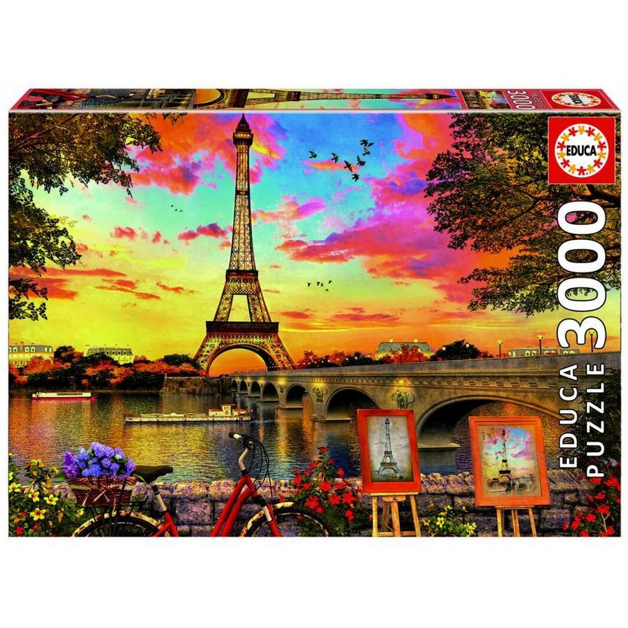 Zonsondergang in Parijs - puzzel van 3000 stukjes-1