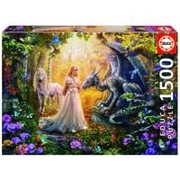 thumb-De draak, de prinses en de eenhoorn - legpuzzel van 1500 stukjes-1