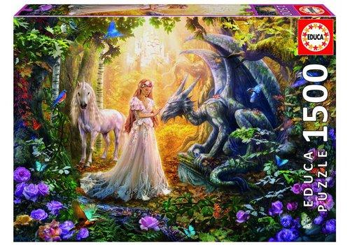 Educa Dragon, princesse et licorne - 1500 pièces