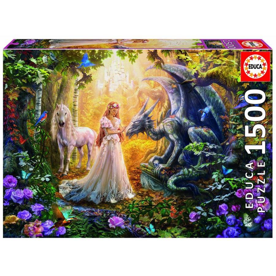 De draak, de prinses en de eenhoorn - legpuzzel van 1500 stukjes-1