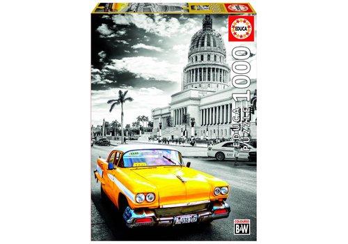 Gele taxi in Havana - 1000 stukjes