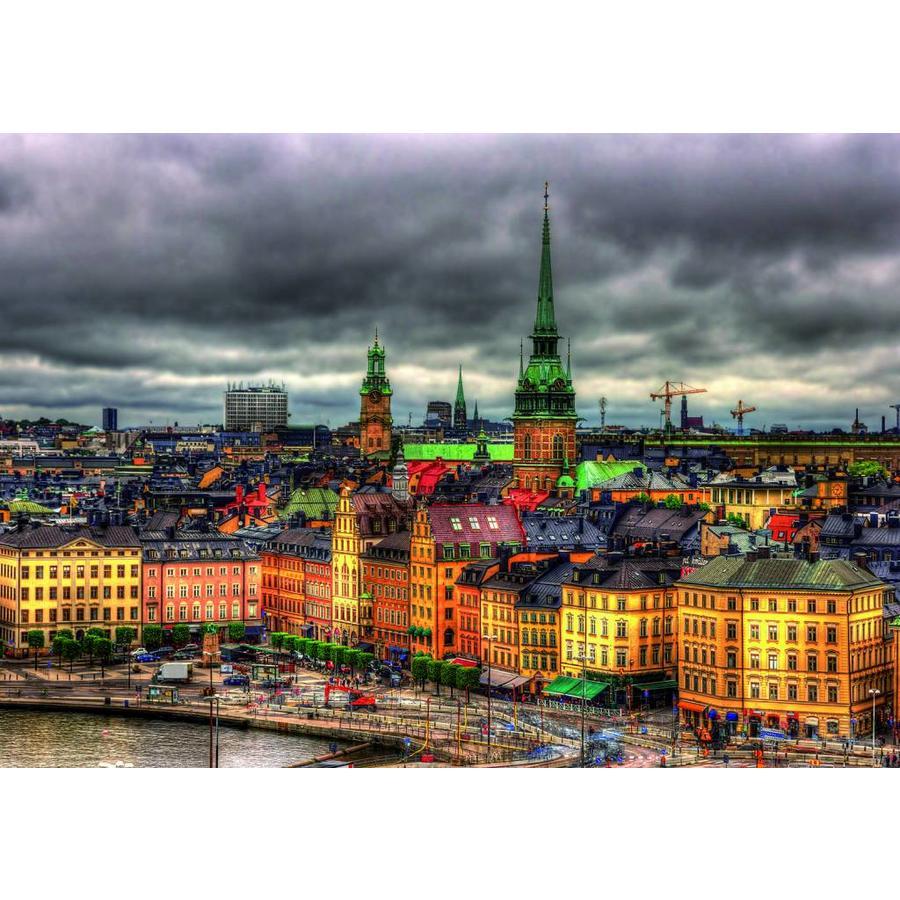 Zicht op Stockholm in Zweden - legpuzzel van 1000 stukjes-2