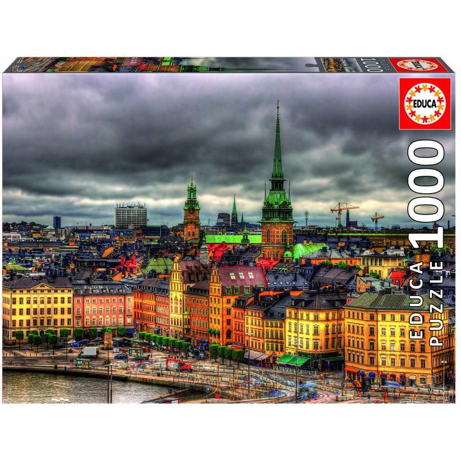 Zicht op Stockholm in Zweden - legpuzzel van 1000 stukjes-1