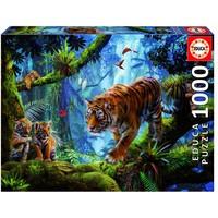 thumb-Tijgers in de bomen  - legpuzzel van 1000 stukjes-1