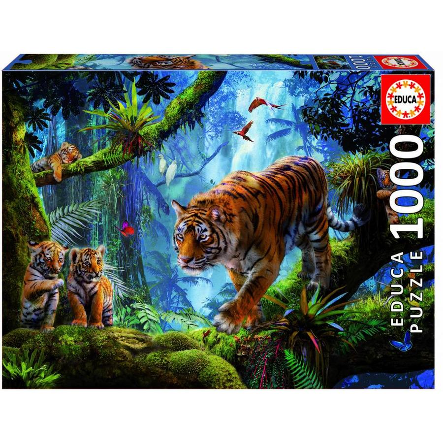 Tijgers in de bomen  - legpuzzel van 1000 stukjes-1