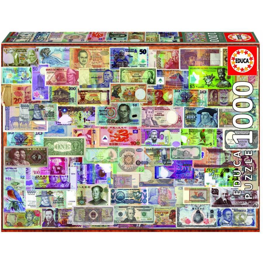 Billets du monde entier - puzzle de 1000 pièces-1