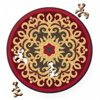 thumb-Puzzel Double Rose - Dubbelzijdige Ronde puzzel in hout - 88 stukjes-1